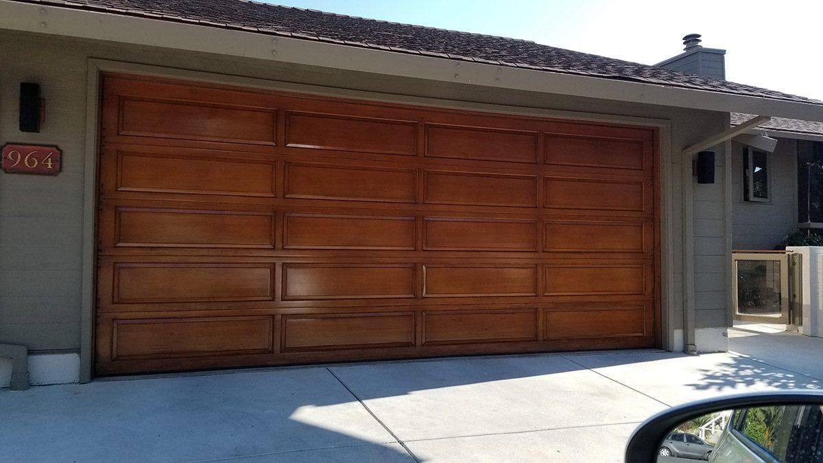 stained wood garage door